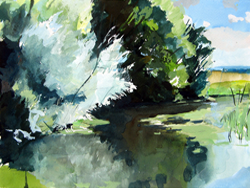 gouache painting the Stour Valley at Wye